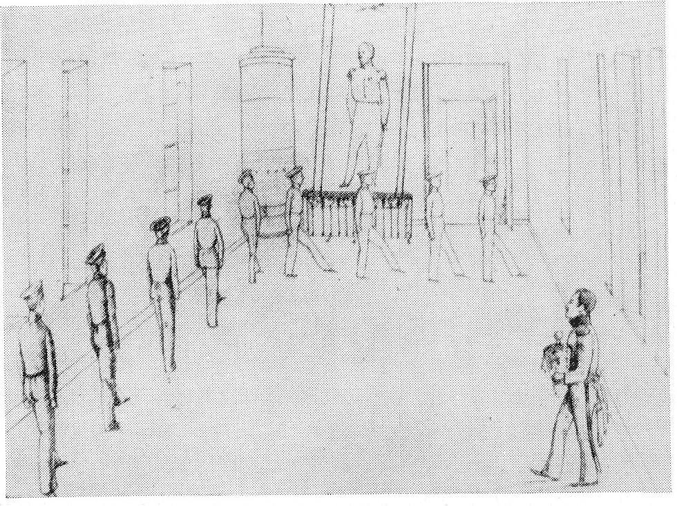 Маршировка юнкеров. Литография с рис. Акима Шан-Гирея. <br>