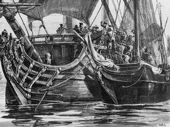 Французский пират Пьер Франсуа атакует судно испанского вице-адмирала. Ок. 1660 года.